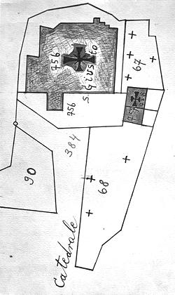 Pianta della Cattedrale di San Giusto con adiacente il Cimitero Superiore e, in basso, quello Inferiore, 13-10-1819 (ADT)
